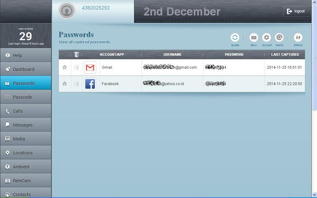 password email dan facebook